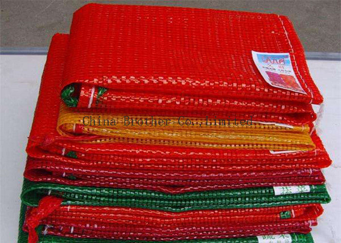 Orange Color 25kg Mesh Packing Bags , PP Woven Mesh Vegetable Bags For Onions