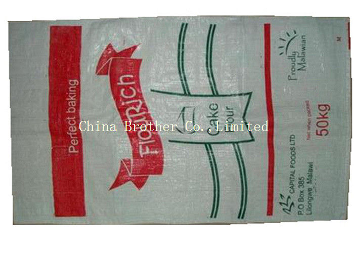 Large Flour Packaging PP Woven Sack Bags High Bearing Strength Moisture Proof