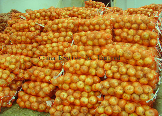 Orange Packing PE Raschel Mesh Bag , Mesh Fruit And Vegetable Bags Eco - Friendly