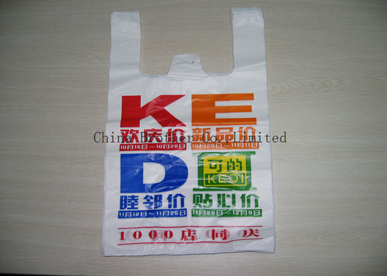China Heavy Duty Plastic Shopping Bags With Handles , Custom Plastic Grocery Bags factory
