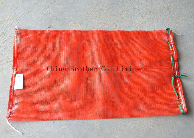 PE  / PP Woven Industrial Mesh Bags 50kg Orange Color For Onions / Eggplant