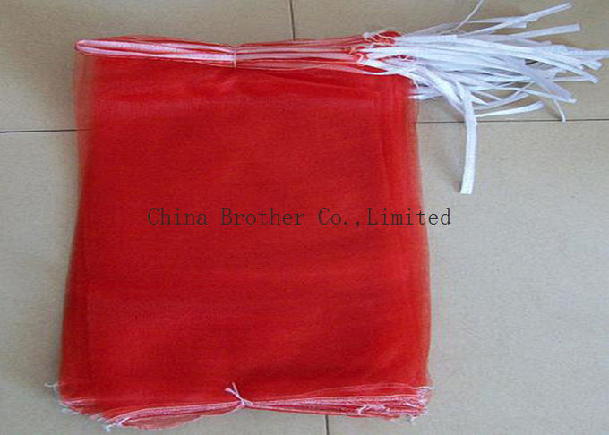 Drawstring Reusable Industrial Mesh Bags Produce Sacks For Packing Vegetables / Fruits