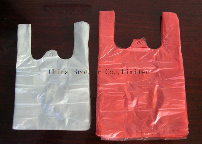 Colored Plastic Merchandise Bags For Grocery , Recycled Reusable Plastic Shopping Bags 40 Micro