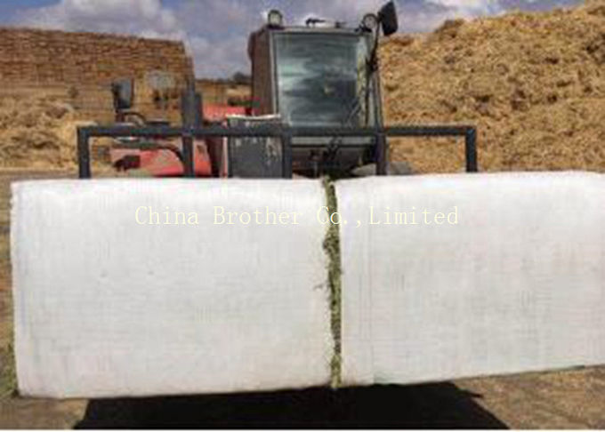 White PP Woven Hay Bale Stack Covers 150gsm , Woven Polypropylene Hay Bale Fabric