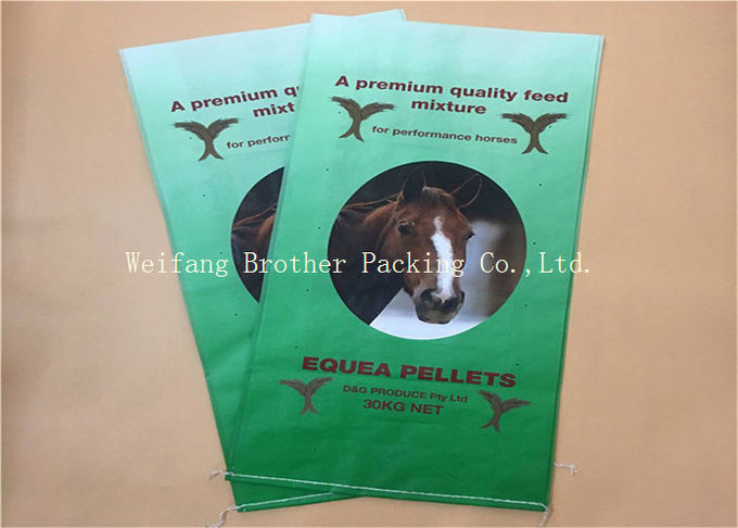50 Kg PP Woven Livestock Feed Bags , Laminated Flour BOPP Printed Bags